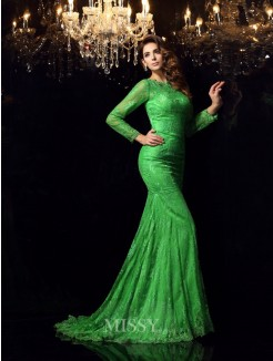 Trumpet/Mermaid High Neck Long Sleeves Court Train Elastic Woven Satin Applique Dresses