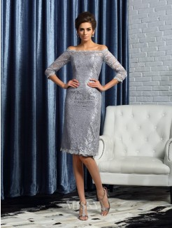 Sheath/Column Off-the-Shoulder Satin 1/2 Sleeves Knee-Length Lace Mother of the Bride Dress