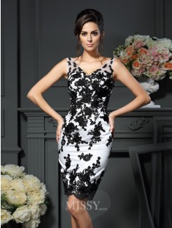 Sheath/Column V-neck Applique Sleeveless Knee-Length Satin Mother of the Bride Dress