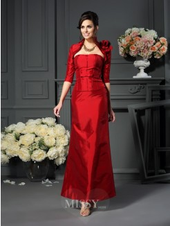 A-Line/Princess Sleeveless Strapless Hand-Made Flower Ankle-Length Taffeta Mother of the Bride Dress