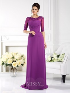Sheath/Column Scoop 1/2 Sleeves Applique Sweep/Brush Train Chiffon Dress