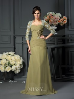 A-Line/Princess Sweetheart Hand-Made Flower 1/2 Sleeves Floor-Length Chiffon Mother of the Bride Dress