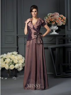 A-Line/Princess V-neck Bowknot Floor-Length Short Sleeves Taffeta Mother of the Bride Dress