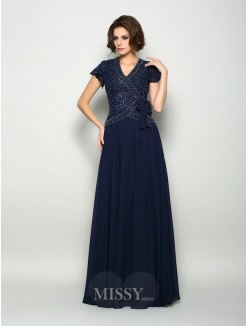 A-Line/Princess Short Sleeves V-neck Chiffon Beading Floor-Length Mother of the Bride Dress