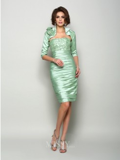 Sheath/Column Sleeveless Strapless Taffeta Knee-Length Applique Mother of the Bride Dress