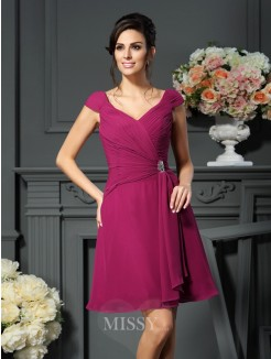A-Line/Princess V-neck Pleats Sleeveless Knee-Length Chiffon Mother of the Bride Dress