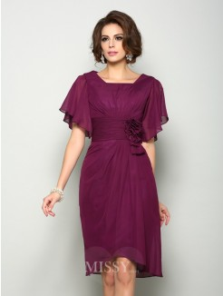 A-Line/Princess Short Sleeves Square Chiffon Knee-Length Hand-Made Flower Mother of the Bride Dress