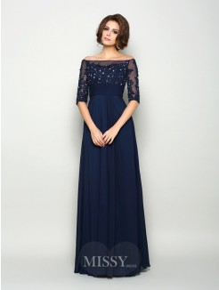 A-Line/Princess 1/2 Sleeves Off-the-Shoulder Chiffon Beading Floor-Length Mother of the Bride Dress