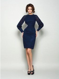Sheath/Column Long Sleeves High Neck Chiffon Knee-Length Beading Mother of the Bride Dress