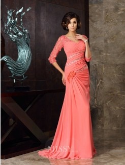 Trumpet/Mermaid Sweetheart 1/2 Sleeves Sweep/Brush Train Chiffon Mother of the Bride Dress