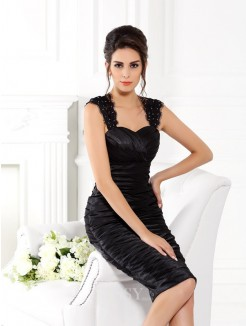 Sheath/Column Straps Sleeveless Knee-Length Taffeta Dresses