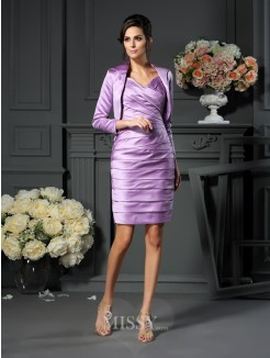 Sheath/Column Sleeveless Straps Satin Ruched Knee-length Mother of the Bride Dress