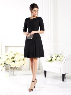 Sheath/Column 1/2 Sleeves Ruched Short/Mini Chiffon Bridesmaid Dresses