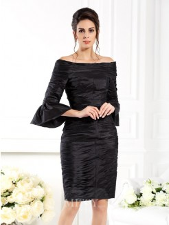 Sheath/Column Off-the-Shoulder 1/2 Sleeves Ruched Short/Mini Taffeta Dresses