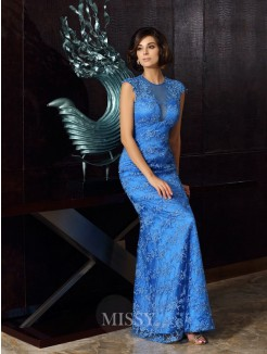 Trumpet/Mermaid Sleeveless High Neck Satin Applique Floor-Length Mother of the Bride Dress