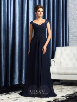 A-Line/Princess Sleeveless Straps Sweep/Brush Train Beading Applique Chiffon Mother of the Bride Dress