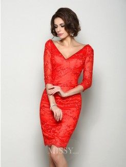 Sheath/Column 1/2 Sleeves V-neck Knee-Length Lace Mother of the Bride Dress