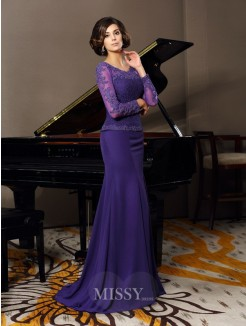 A-Line/Princess Scoop 3/4 Sleeves Chiffon Floor-Length Applique Mother of the Bride Dress