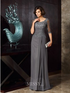 A-Line/Princess Scoop Chiffon 1/2 Sleeves Beading Applique Sweep/Brush Train Mother of the Bride Dress