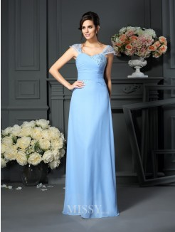 Sheath/Column Straps Pleats Floor-Length Sleeveless Chiffon Mother of the Bride Dress