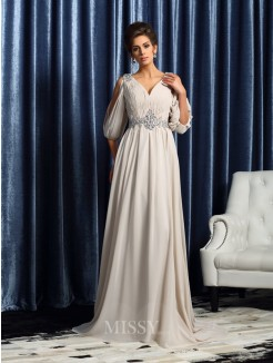 A-Line/Princess 1/2 Sleeves Chiffon V-neck Court Train Beading Mother of the Bride Dress