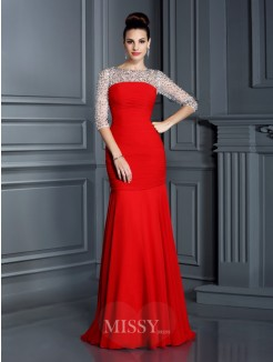 Trumpet/Mermaid Scoop 3/4 Sleeves Beading Floor-Length Chiffon Dress