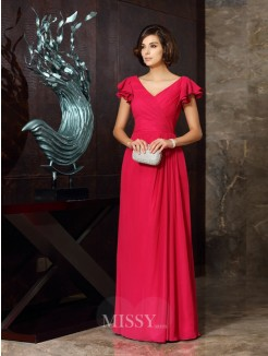 A-Line/Princess V-neck Short Sleeves Chiffon Ruched Floor-Length Dresses