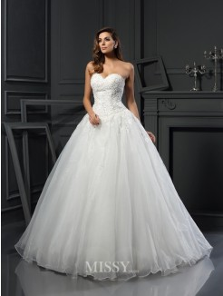 Ball Gown Sleeveless Sweetheart Beading Court Train Tulle Wedding Dress
