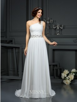 A-Line/Princess Sleeveless One-Shoulder Court Train Beading Chiffon Wedding Dress