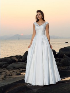 A-Line/Princess Sleeveless V-neck Taffeta Floor-Length Beading Applique Wedding Dress