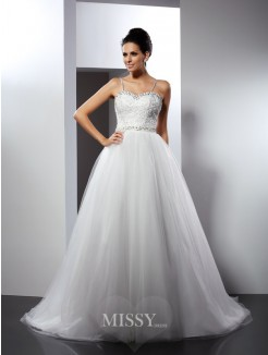 A-Line/Princess Spaghetti Straps Sleeveless Beading Chapel Train Tulle Wedding Dress