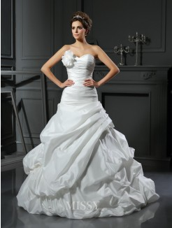 Ball Gown Sleeveless Satin Sweetheart Cathedral Train Hand-Made Flower Wedding Dresses