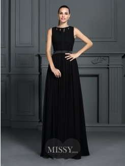 A-Line/Princess Sleeveless Scoop Pleats Floor-Length Chiffon Dress
