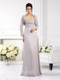 A-Line/Princess Strapless Sleeveless Beading Floor-Length Chiffon Mother of the Bride Dress