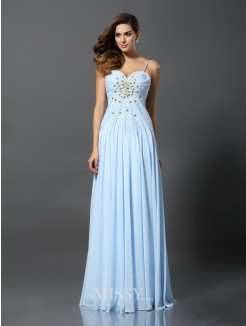 A-Line/Princess Sleeveless Spaghetti Straps Beading Chiffon Sweep/Brush Train Dresses