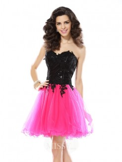 A-Line/Princess Sweetheart Lace Sleeveless Short/Mini Net Dresses