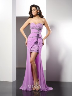 Sheath/Column Sweetheart Beading Sleeveless Floor-Length Silk like Satin Dresses