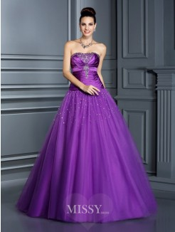 Ball Gown Strapless Sleeveless Floor-Length Taffeta Quinceanera Dresses