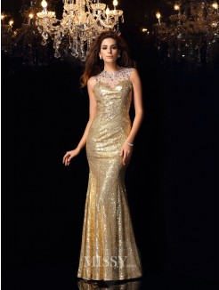 Trumpet/Mermaid Sleeveless High Neck Sequins Floor-Length Dresses