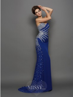 Trumpet/Mermaid Sweetheart Chiffon Sleeveless Rhinestone Court Train Dresses