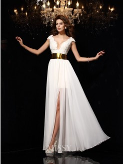 A-Line/Princess Sleeveless V-neck Lace Chiffon Floor-Length Dresses