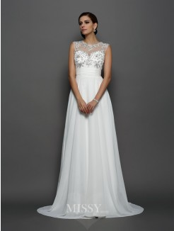 A-Line/Princess Bateau Sleeveless Chiffon Applique Court Train Dresses