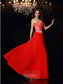 A-Line/Princess Sleeveless Sweetheart Lace Chiffon Floor-Length Dresses