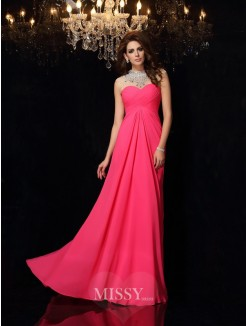 A-Line/Princess Sleeveless High Neck Chiffon Sweep/Brush Train Ruched Dresses
