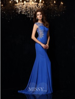 Sheath/Column Sleeveless Scoop Beading Sweep/Brush Train Chiffon Dress
