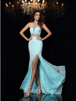 Sheath/Column Sleeveless Chiffon High Neck Beading Sweep/Brush Train Dresses