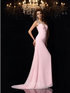 Trumpet/Mermaid Scoop Chiffon Sleeveless Beading Court Train Dresses