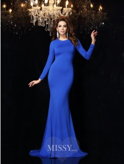 Trumpet/Mermaid Scoop Long Sleeves Sweep/Brush Train Spandex Dresses