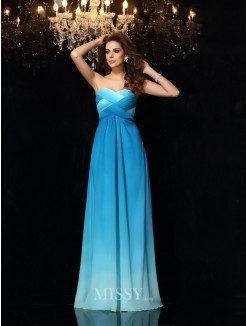 A-Line/Princess Sleeveless Sweetheart Chiffon Floor-Length Ruched Dresses