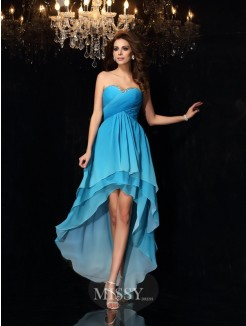 A-Line/Princess Sleeveless Chiffon Sweetheart Asymmetrical Ruched Dresses